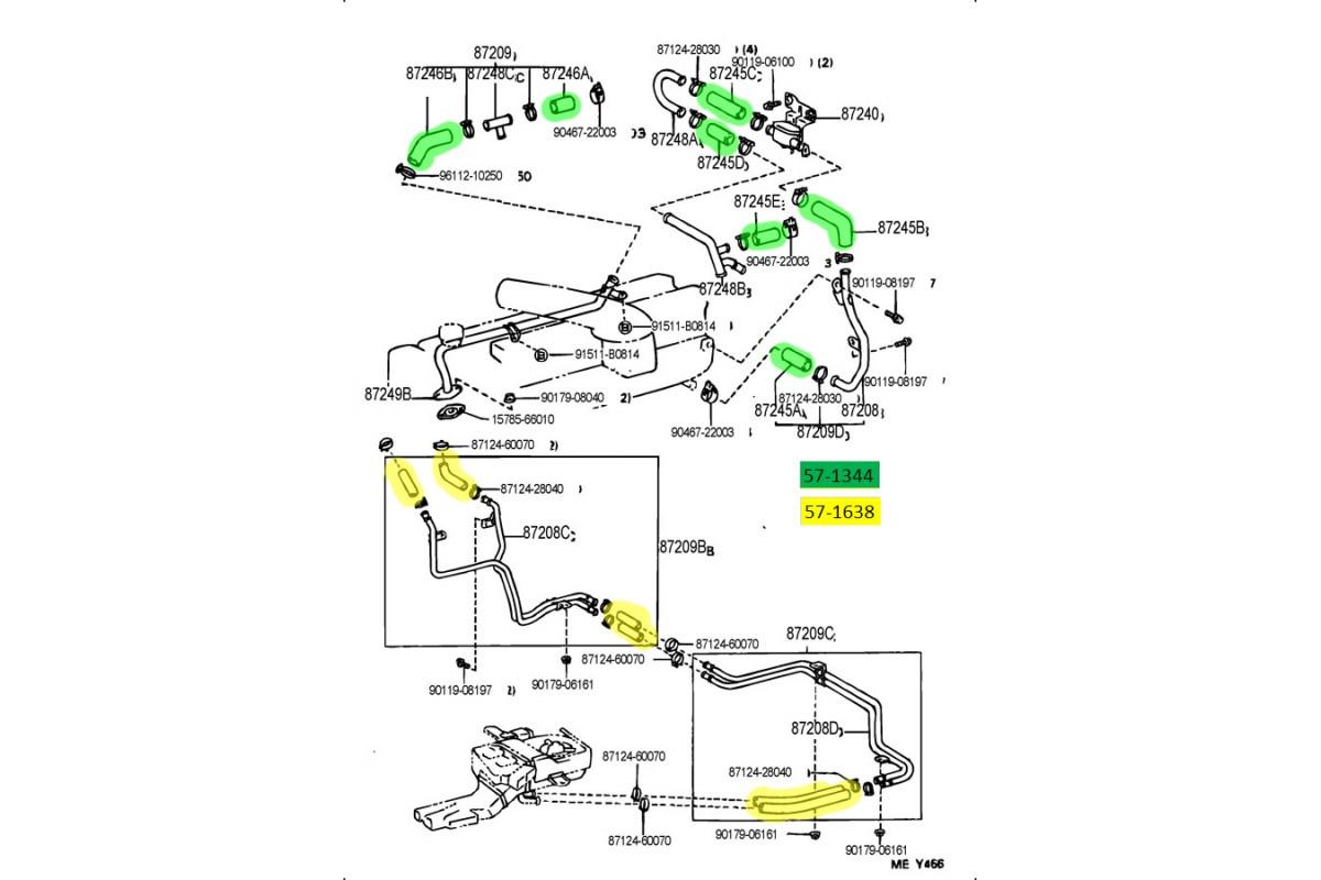 Heater Hose Kit for Lexus 96-97 LX450 FJ80 4.5L I6 BLACK HPS Silicone Radiator