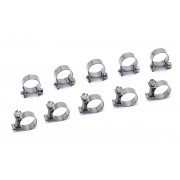 """HPS SAE #11 Stainless Steel Fuel Injection Hose Clamps 10pc Pack 25/64"""" - 15/32"""" (10mm - 12mm)"""