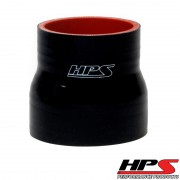 """HPS 2-1/8"""" - 2.5"""" ID , 3"""" Long High Temp 4-ply Reinforced Silicone Reducer Coupler Hose Black (54mm - 63mm ID , 76mm Length)"""