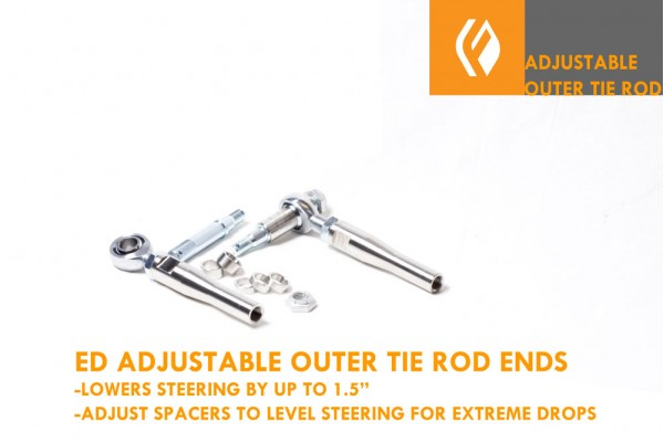 EXTREME DROP ADJUSTABLE V2 OUTER TIE ROD ENDS WITH BUMP STEER SPACERS SUPRA SC GS LS